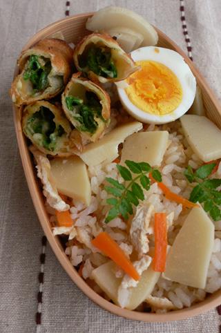 たけのこご飯と山菜春巻きのお弁当