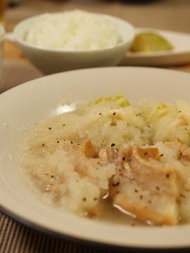 ロール白菜と車麩のおろし鍋