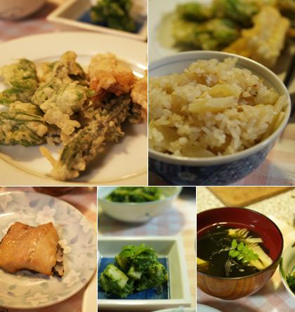 季節の山菜がたっぷりのお食事